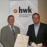 Martin Cosalter und Thomas Huber von Axima Refrigeration erhalten Auszeichung von der Handwerkskammer Schwaben